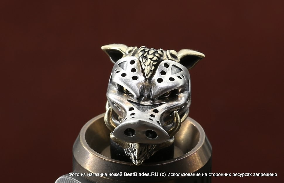 Brass Bead  Wild Boar (2 metal parts)