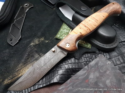 Varyag-2 knife (damascus, birch, wood)