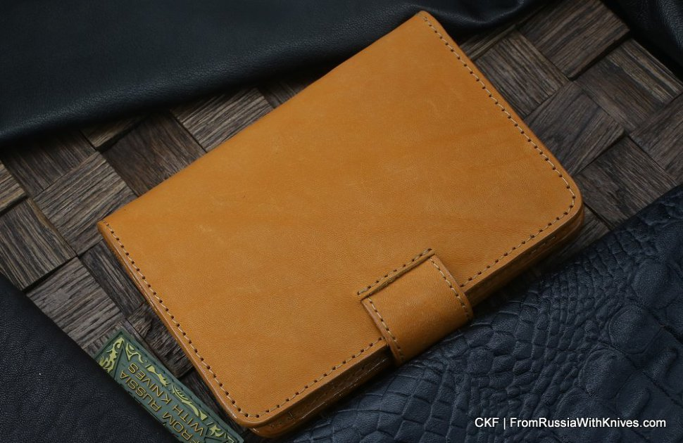 Custom leather wallet/document cover with claw knife - ginger
