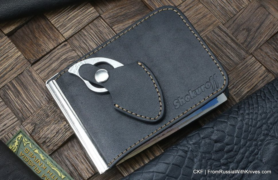 Custom leather money clip/wallet with claw knife - black