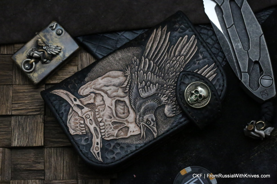 Custom Leather Wallet CKF Raven Black