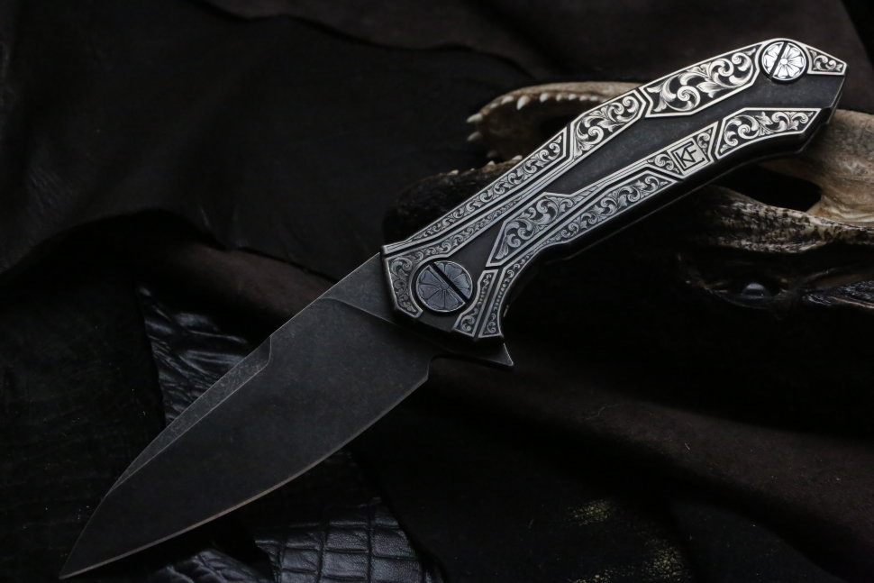 One-off engraved T90 knife (Alexey Konygin design)