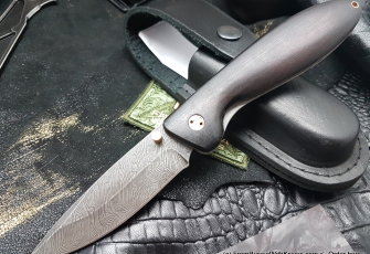 Kolonok knife (damascus, grab wood)