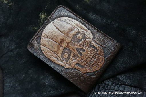 Custom Leather Wallet CKF Scull2